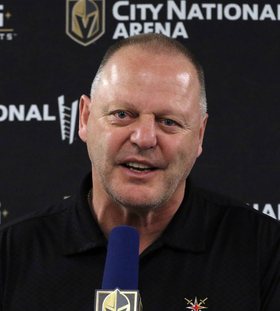 Golden Knights coach Gerard Gallant addresses the media at City National Arena on Thursday, Apr ...