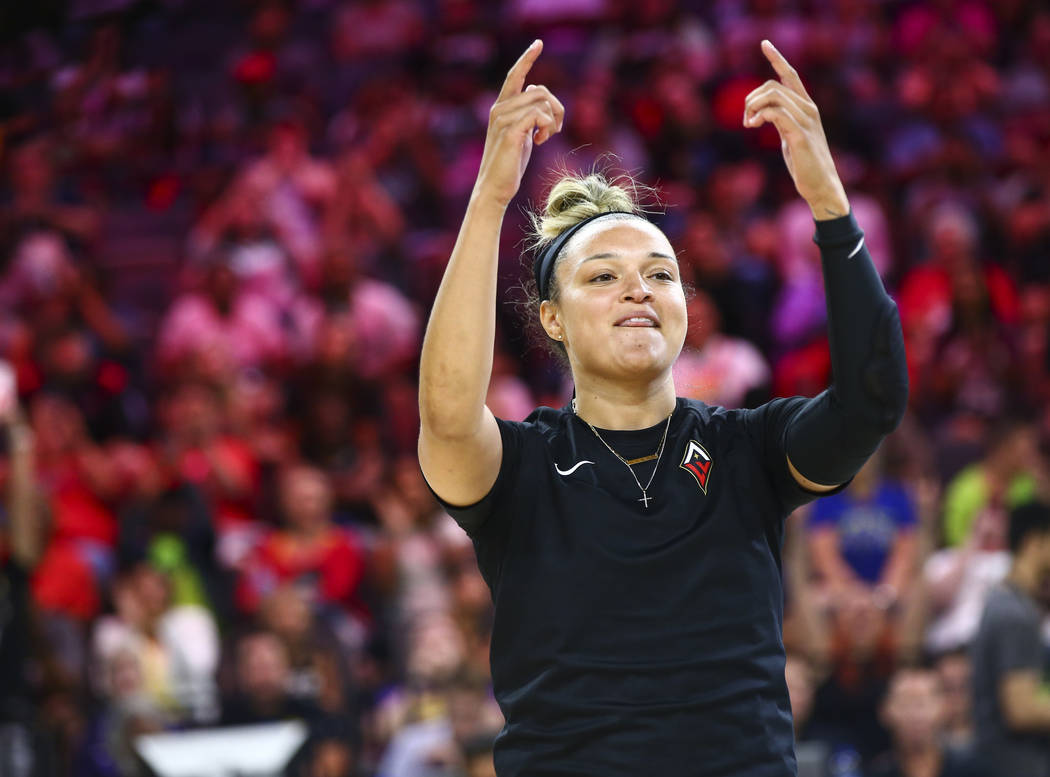 Las Vegas Aces' Kayla McBride is introduced during the WNBA All-Star skills challenges at the M ...