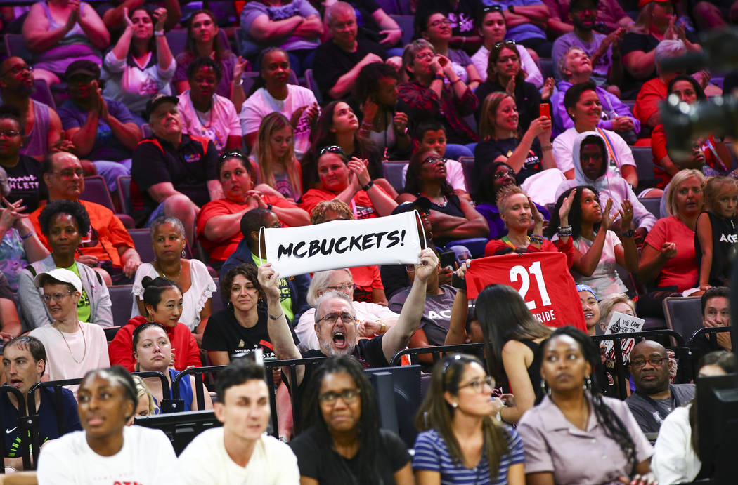 A fan of Las Vegas Aces' Kayla McBride holds up a sign in support of her during the WNBA All-St ...