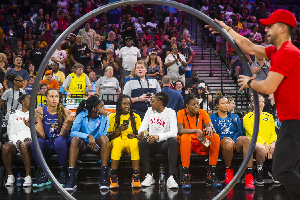 Players wait to compete in the WNBA All-Star skills challenges at the Mandalay Bay Events Cente ...
