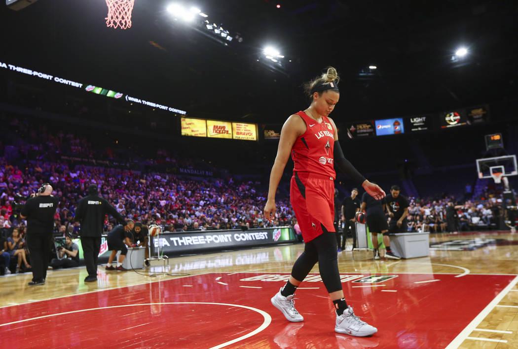 Las Vegas Aces' Kayla McBride prepares to compete in the final round of the three-point shootin ...