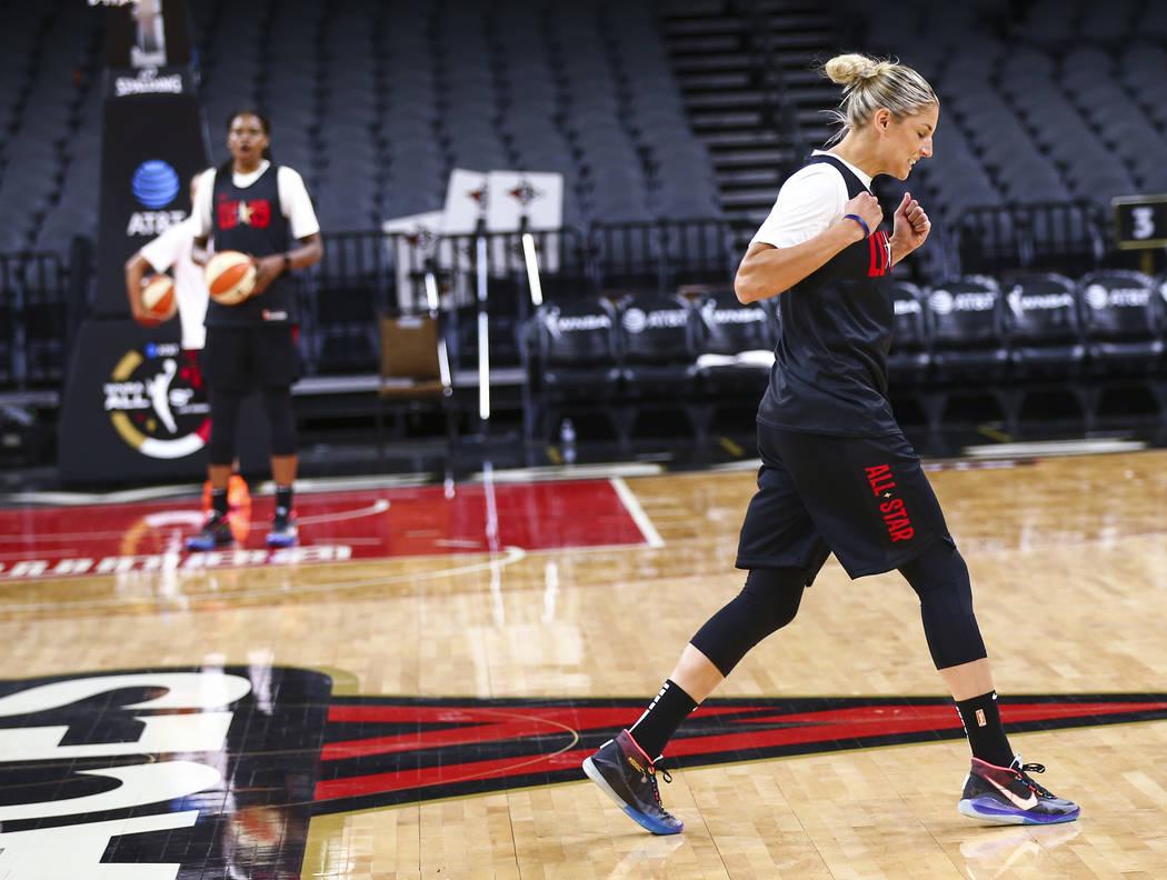 Washington Mystics' Elena Delle Donne celebrates after scoring a half-court shot during practic ...