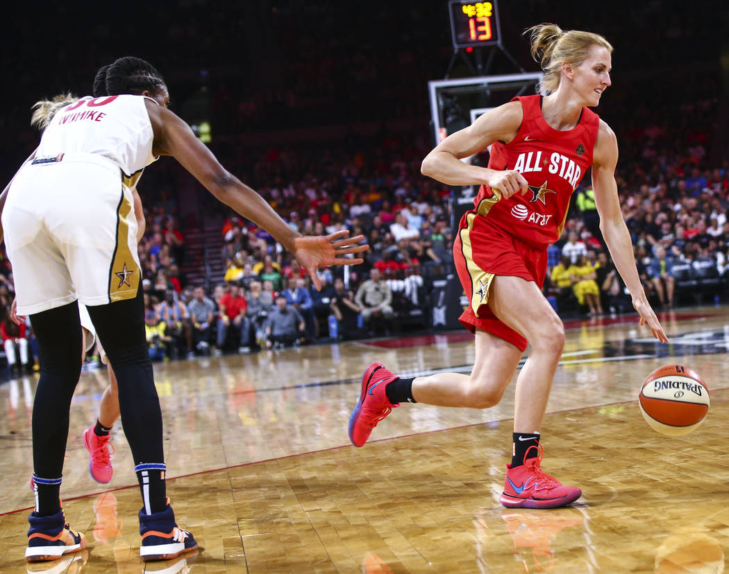 Chicago Sky's Allie Quigley drives to the basket during the second half of the WNBA All-Star Ga ...