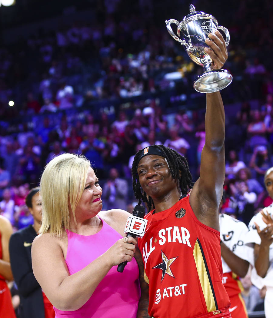 Indiana Fever's Erica Wheeler, right, reacts after being named MVP of the WNBA All-Star Game wh ...