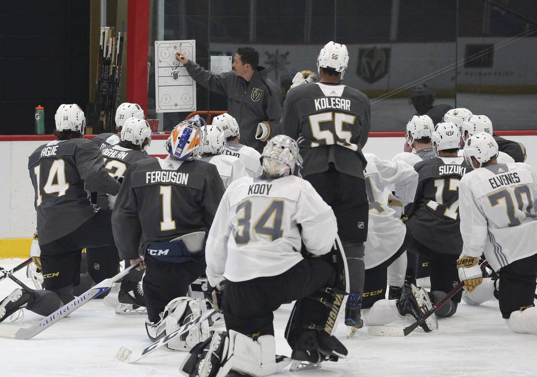 Golden Knights coach Chris Dennis lays out a practice plan during Knights rookie camp practice ...