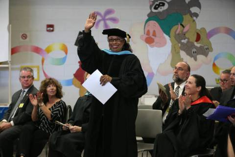 Dr. Linda Young, trustee for the Clark County School District, is recognized during a graduatio ...