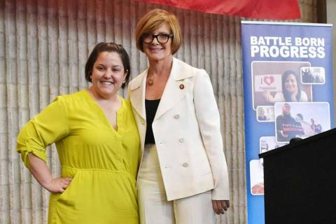 Battle Born Progress executive cirector Annette Magnus, left, with Congresswoman Susie Lee, D-N ...