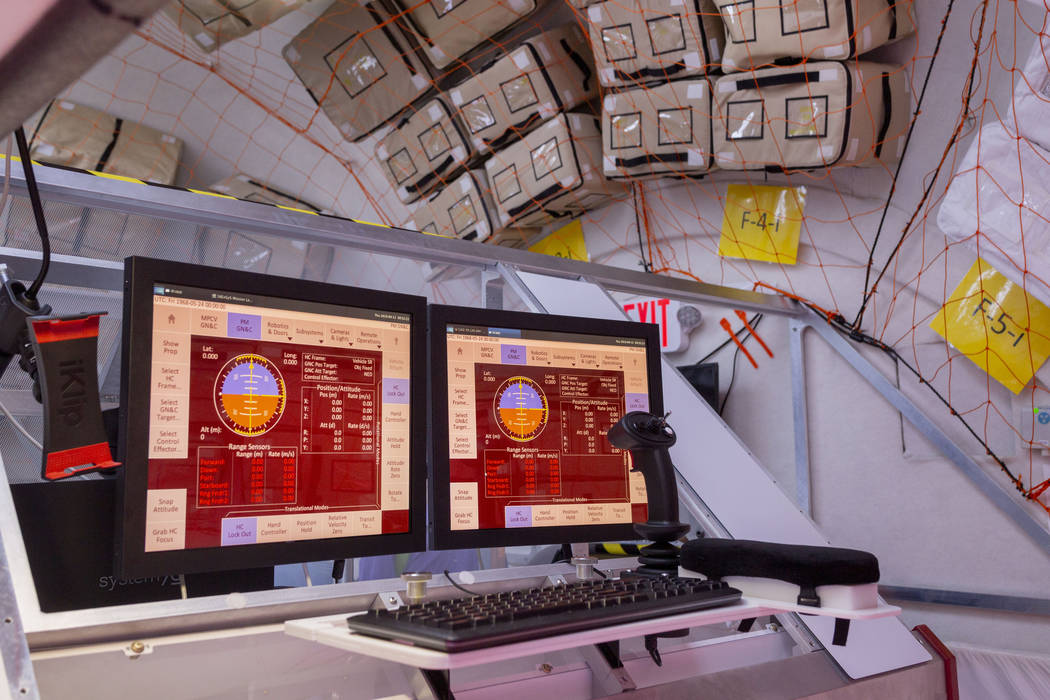 A control panel for off-sight rovers and other tracking activities, on the B330 Mars Transporte ...