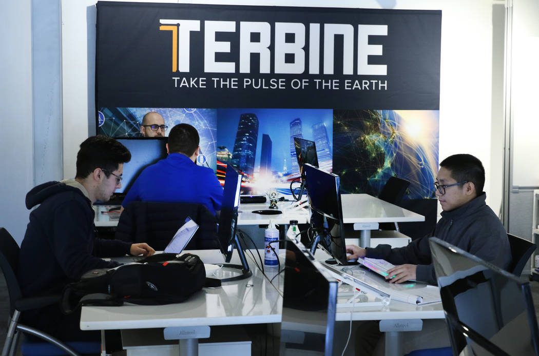 Terbine's employees at their Las Vegas office on Thursday, Oct. 31, 2019. Terbine, a tech firm, ...