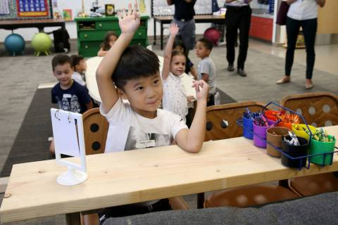 Cheney Jiang in Katie Rios' kindergarten class on the first day of school at Bonner Elementary ...