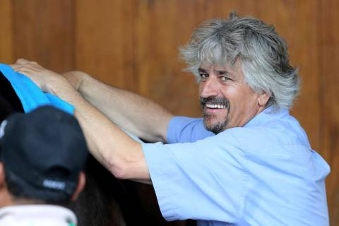 Trainer Steve Asmussen is seen at Churchill Downs Wednesday, May 1, 2019, in Louisville, Ky. Pl ...
