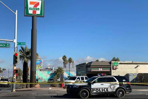 Las Vegas police investigate a stabbing near Bonanza Road and Las Vegas Boulevard North on Thur ...