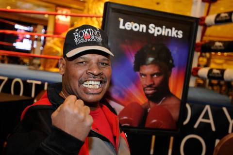In this Feb. 18, 2012, file photo, retired boxer Leon Spinks smiles for a photograph during an ...