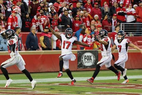 Atlanta Falcons' Olamide Zaccheaus (17) celebrates after scoring against the San Francisco 49er ...