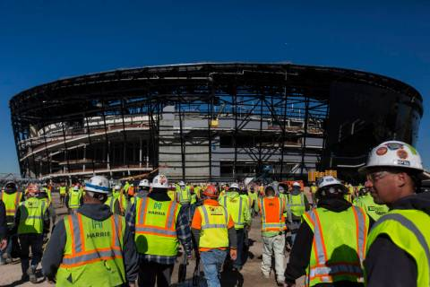 Construction continues on Allegiant Stadium on Thursday, Dec. 19, 2019, in Las Vegas. (Benjamin ...