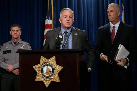 Sheriff Joe Lombardo talks about impaired, unsafe and distracted driving during a news conferen ...