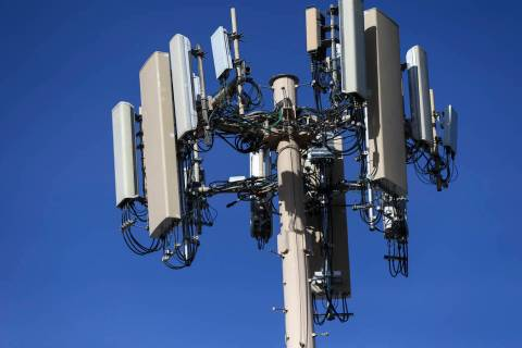 A 5G cell tower on Dean Martin Drive by Ali Baba Lane in Las Vegas on Tuesday, Jan. 7, 2020. (C ...