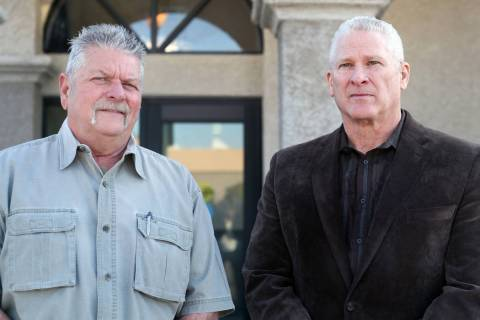 Boulder Township deputy constable Steve Kilgore, right, joined the office of Steve Hampe, left, ...