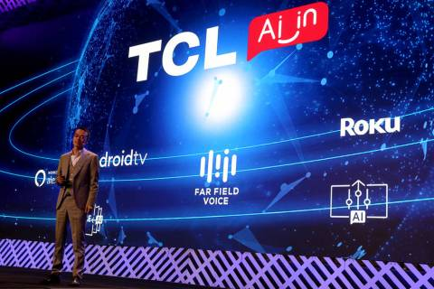 Harry Wu, vice president of TLC Electronics, during the TCL news conference at Mandalay Bay Con ...