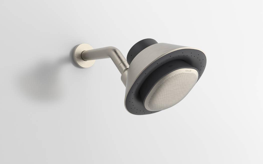 Kohler Moxie shower head and speaker. (Courtesy Kohler)