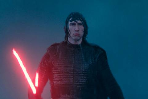 """This image released by Disney/Lucasfilm shows Adam Driver as Kylo Ren in a scene from """"Sta ..."""
