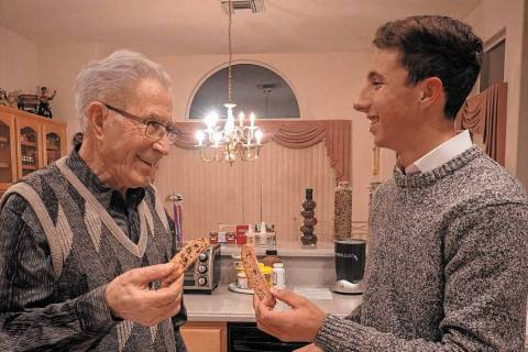 """Holocaust survivor Ben Lesser talks with Noah Geeser in a scene from """"Live to Bear Witness."""" (J ..."""