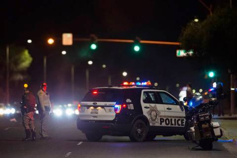 Metro investigates a hit-and-run crash at South Pecos Road and East Harmon Avenue that left one ...