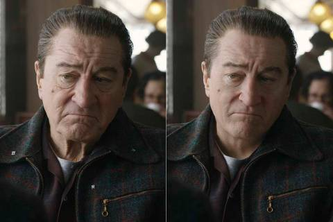 """This combination of photos shows actor Robert De Niro, left, during the filming of """"The Ir ..."""