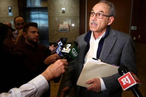 John Vellardita, executive director of the Clark County Education Association, talks to the new ...