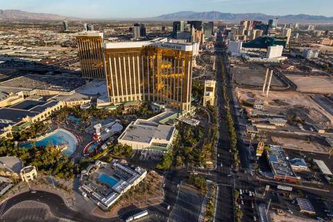 Mandalay Bay and Delano are seen on the Las Vegas Strip during an aerial photo taken Wednesday, ...