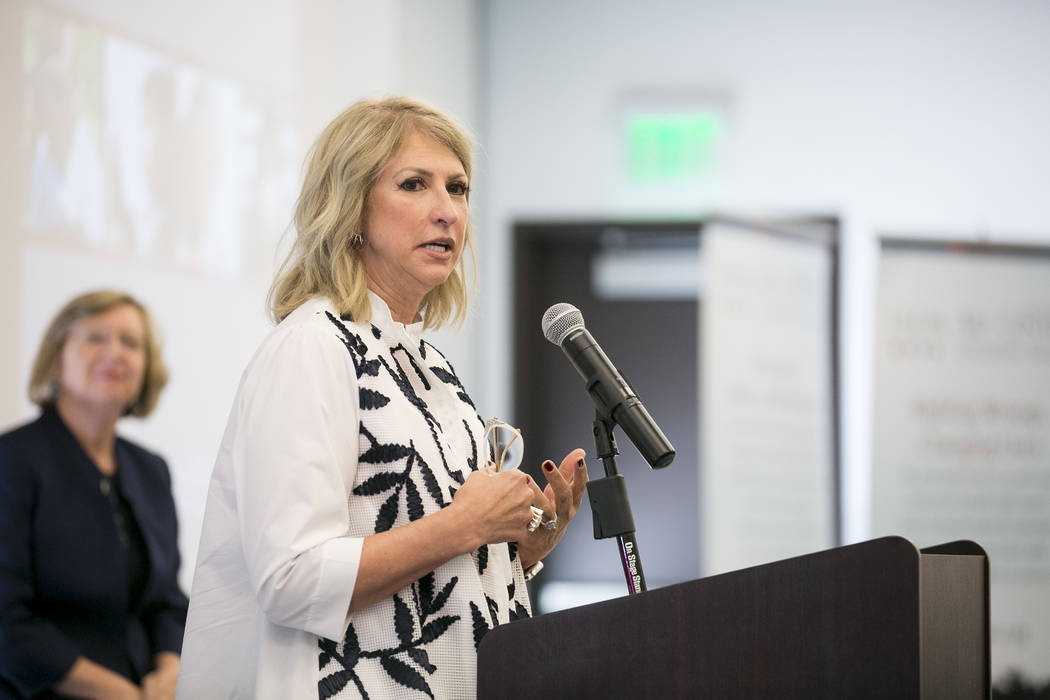 Kris McGarry from the Engelstad Family Foundation speaks at the Legal Aid Center of Southern Ne ...