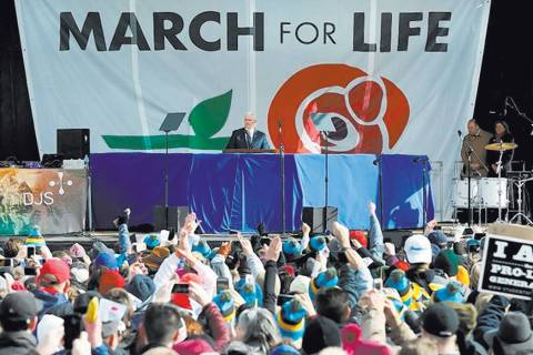 U.S. Vice President Mike Pence speaks at the annual March for Life rally in Washington, D.C., ...