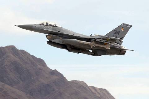 An F-16 takes off from Nellis Air Force Base in Las Vegas in 2018. (K.M. Cannon Las Vegas Revie ...