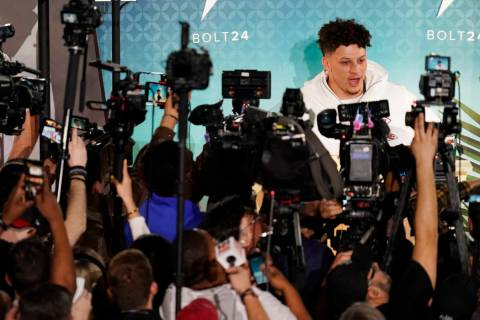 Kansas City Chiefs Patrick Mahomes speaks to the media during Opening Night for the NFL Super B ...