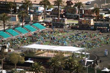 The concert grounds on the day after the Route 91 Harvest Festival shooting in Las Vegas, Oct. ...