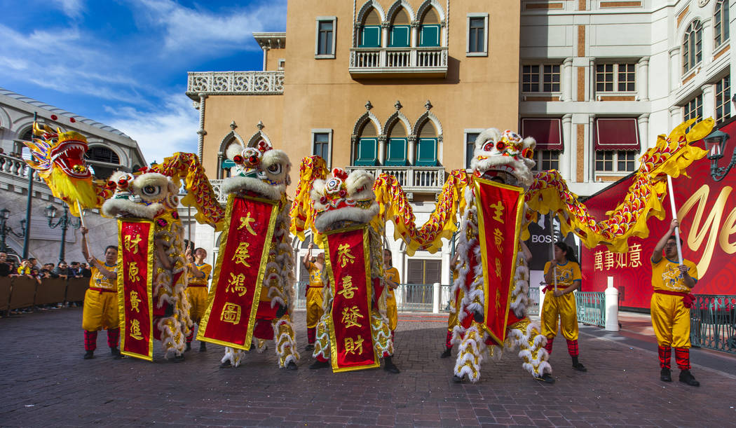 Dancers from the Yau Kung Moon dance troupe in San Francisco perform to celebrate the Lunar New ...