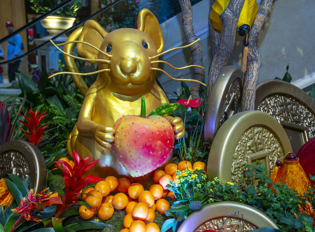 A display for the Year of the Rat is seen at The Venetian during the celebration of the Lunar N ...