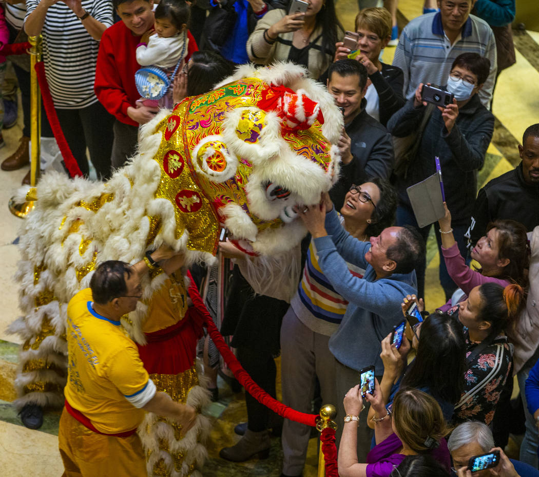 People interact with a lion as dancers from the Yau Kung Moon dance troupe in San Francisco per ...