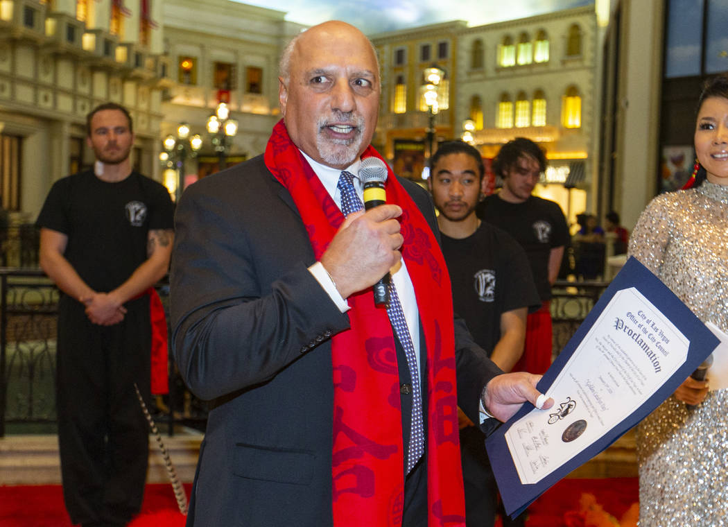 Las Vegas City Councilman Stavros Anthony presents a proclamation as the Grand Canal Shoppes ce ...