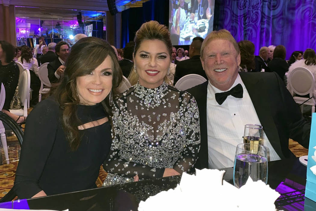 Shania Twain is shown with Marie Osmond and Las Vegas Raiders owner Mark Davis at the Nevada Ba ...