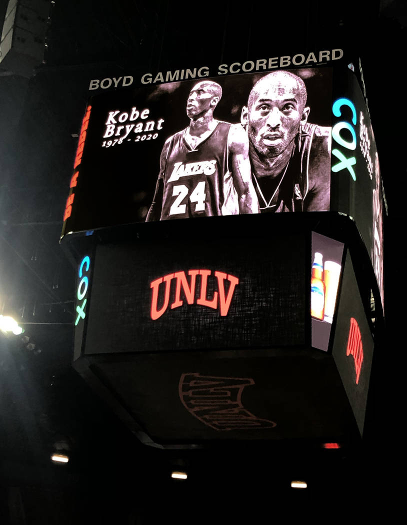 A tribute to Kobe Bryant is shown on the scoreboard at the Thomas & Mack Center before the ...
