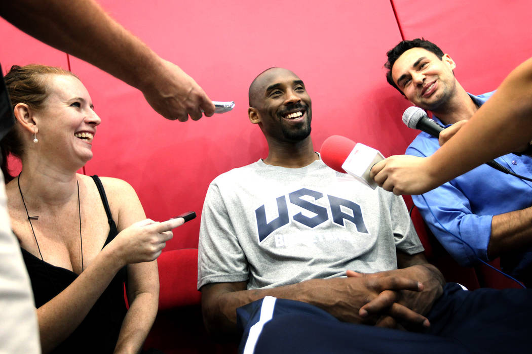 2012 USA Basketball Men's National Team player Kobe Bryant talks with media before practice at ...