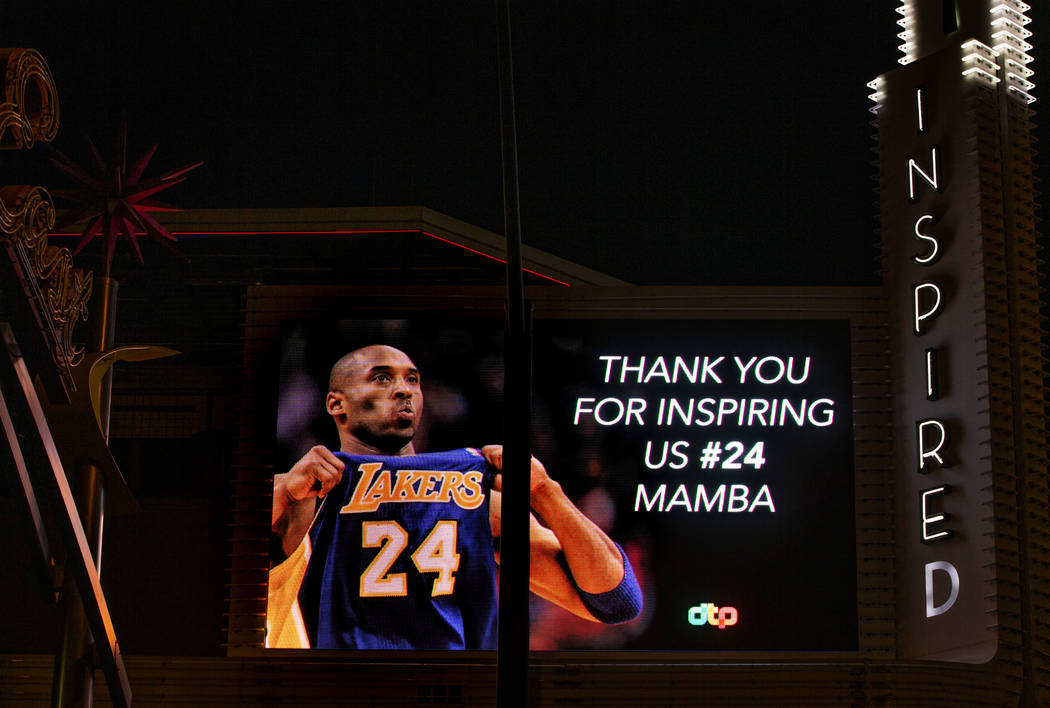 The Inspire Bar Lounge Nightclub displays a memorial on their marquee to Kobe Bryant following ...