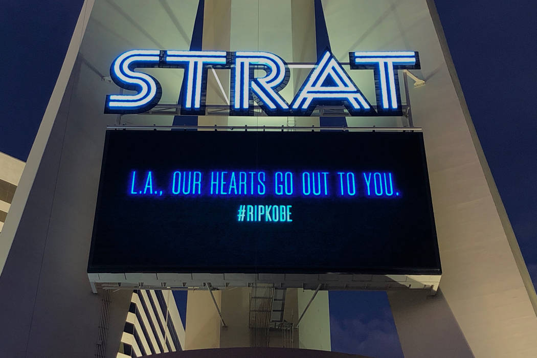 "The Strat posts a message that reads, ""L.A., OUR HEARTS GO OUT TO YOU."" with a #R ..."