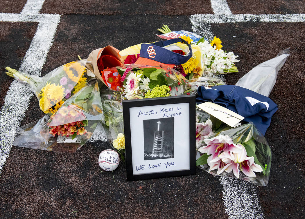 A makeshift memorial was created on home plate Orange Coast College baseball field in Costa Mes ...