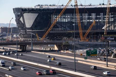 A view of Allegiant Stadium as construction progresses in Las Vegas on Monday, Jan. 13, 2020. ( ...