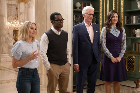 Kristen Bell as Eleanor, from left, William Jackson Harper as Chidi, Ted Danson as Michael, D'A ...