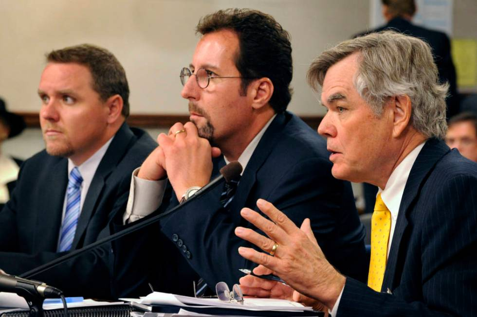 Jon Snyder, left, developer Chris Milam and Terry Care testify in a joint legislative committee ...