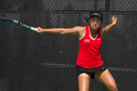 UNLV senior En-Pei Huang, shown in 2017, has teamed with junior Izumi Asano to go 10-3 in doubl ...