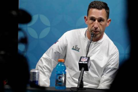 San Francisco 49ers head coach Kyle Shanahan speaks during a news conference after the NFL Supe ...